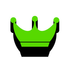 King crown sign green 3d icon with black vector
