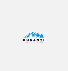 kunanyi blue mountain outdoor logo vector image