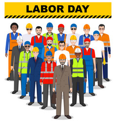 labor day group of worker builder and engineer vector image