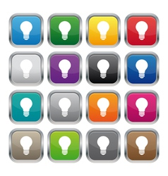 Lamp metallic square buttons vector image