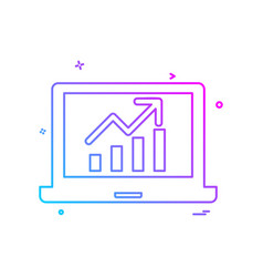 laptop graph icon design vector image
