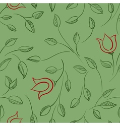 Leaves and flowers seamless pattern Nature floral vector image