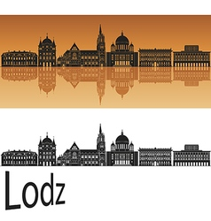 Lodz skyline in orange vector image