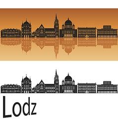 Lodz skyline in orange vector image