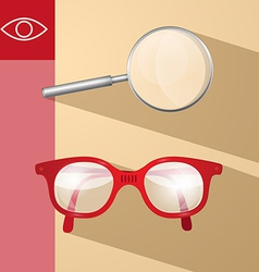 Magnifying Glass and Retro Glasses vector image