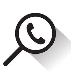 magnifying glass with Telephone icon vector image