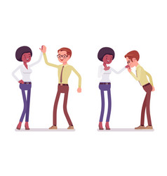 Man to woman friendly greeting vector