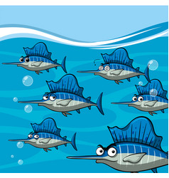 Many swordfish under the ocean vector