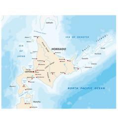map north japanese island hokkaido vector image