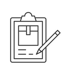 Pencil checking list about parcel box on vector
