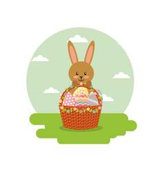 rabbit holds basket floral eggs decoration in vector image