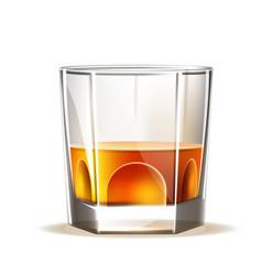 Realistic scotch wiskey glass brandy vector