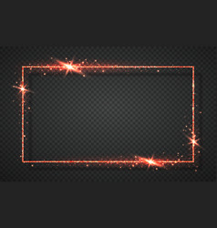 Red shiny glitter glowing vintage frame with vector