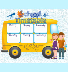 School bus image with timetable vector