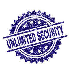 Scratched textured unlimited security stamp seal vector