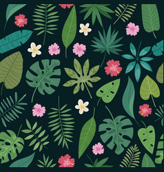 seamless palm leaves and flowers exotic vector image