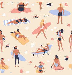 seamless pattern with people lying on beach and vector image