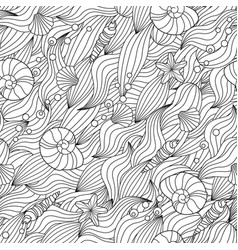 serene hand drawn outline seamless pattern vector image