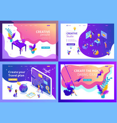 Set isometric concept landing page vector