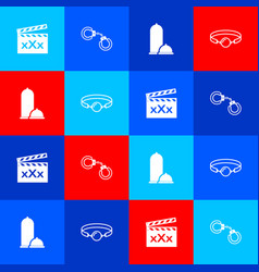 Set movie clapper with sex sexy fluffy handcuffs vector