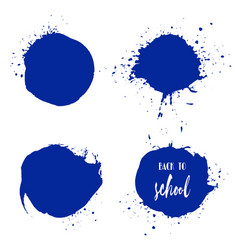 Set of back to school ink watercolor blue splashes vector