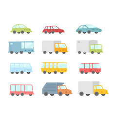Set of different cartoon transparent cars buses vector