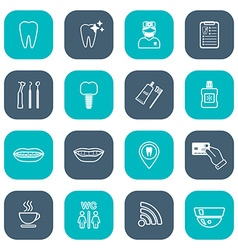 Set of linear dental icons Flat design White vector image
