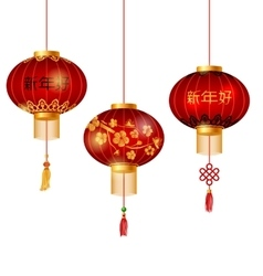 Set of Red Chinese Lanterns Circular for Happy New vector image