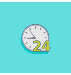 simple with open 24 hours a day icon flat de vector image