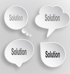 Solution White flat buttons on gray background vector image