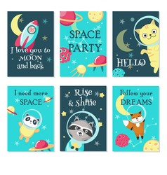 space party invitation card template set vector image
