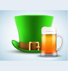 st patrick hat with beer mug vector image