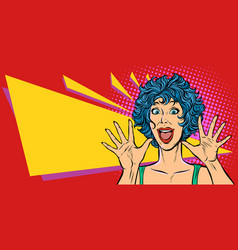 surprise woman pop art style woman 80s vector image