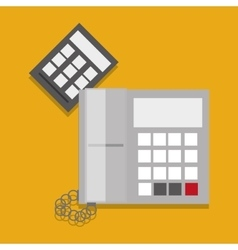 Telephone and calculator office related items icon vector