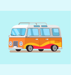 travelling trailer in retro style convenient home vector image