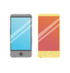 Two smart phone icons on a blue background vector