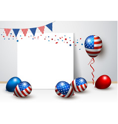 Usa balloon and blank frame design vector