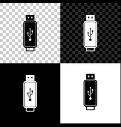 usb flash drive icon isolated on black white and vector image