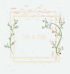 Wedding invitation floral card with vector