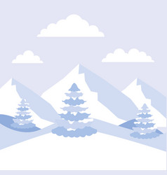 winter landscape mountains alps and pine trees vector image