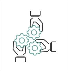 Business teamwork outline icon vector image vector image