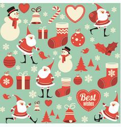 flat design christmas seamless pattern vector image