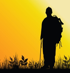 man in nature silhouette vector image vector image