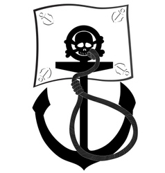 Pirate flag and anchor vector image vector image