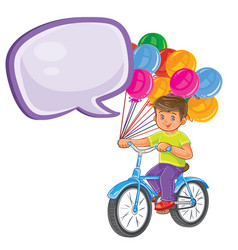 small boy ride bikes with balloons vector image
