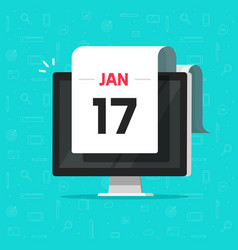 calendar date on computer screen vector image vector image