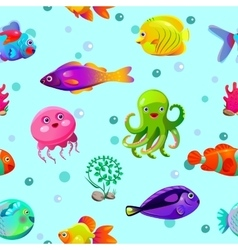 Funny seamless pattern with underwater characters vector image vector image