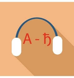 Headphones for language learning icon flat style vector