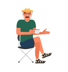 resting man sitting on a folding chair in a t vector image vector image