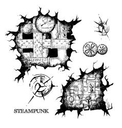 steampunk sketch holes vector image vector image